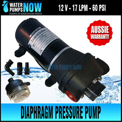 12V WATER PRESSURE PUMP 60PSI 17 LPM 12 volt CARAVAN, CABIN Fresh or Salt Water