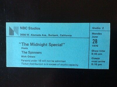 "Unused Ticket to Taping of ""Midnight Special"" The Spinners Concert Television"