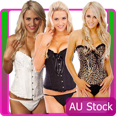 Leopard Boned Corset Bridal Lace Up Bustier Party Dress Costume Outfits