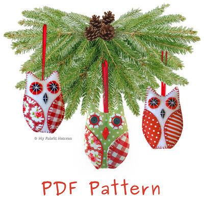 **EMAIL PDF VERSION**  Fabric OWL Hanging Christmas Tree Ornament SEWING Pattern