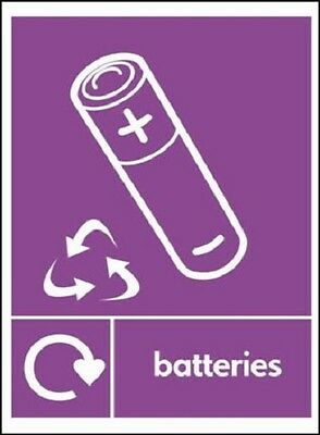 Batteries - Recycling Signs,Stickers/ Adhesive, Waterproof, Rigid PVC, Free P&P