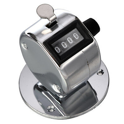 Round Base 4 Digit Manual Hand Tally Mechanical Palm Click Counter GIFT