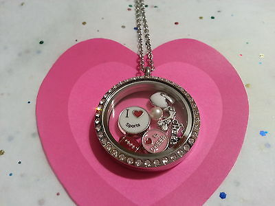 CHEER CHEERLEADER NECKLACE LIVING MEMORY GLASS LOCKET PENDANT FLOATING CHARM #10