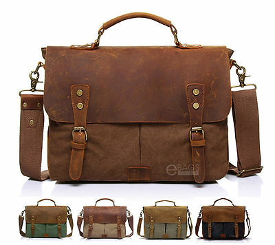 Canvas Leather Briefcase CrossBody Laptop Shoulder Messenger Bag Satchel