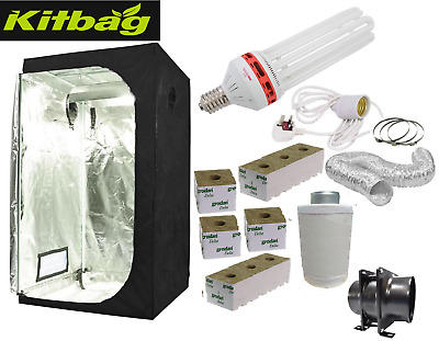 Best Complete Hydroponic Grow Room Tent Fan Filter Light Kit CFL300w 120x120x200