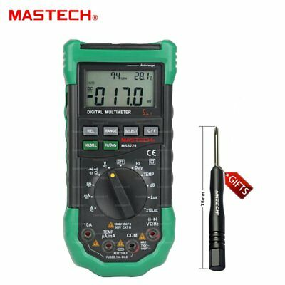 Mastech MS8229 Auto-Range 5-in-1 Digital Multimeter DMM Lux Humidity Thermometer