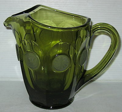 "Fostoria COIN FROSTED OLIVE GREEN *6 1/2"" PITCHER*"