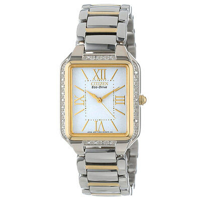 NEW Citizen Eco-Drive Ciena White Diamond Two Tone Women's Watch EM0194-51A