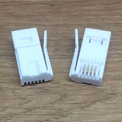 Pack Of 2 Quality White 4Pin 431A Bt Telephone Cable Crimp Connector Plugs