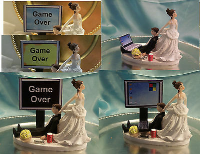 Wedding Cake Topper Computer Laptop Video Game Gamer Gaming Over Groom Funny