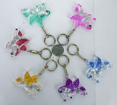"Wholesale Lot Of 6,12,24--""pegasus"" Painted 1.5"" Long  Crystal Clear Keychain"