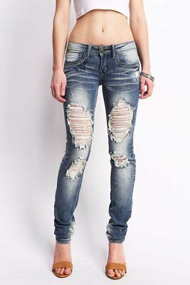 Machine Jeans New Womens Ripped Distressed Fitted Low Rise Skinnys Cotton Blend