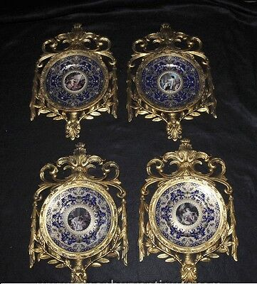 Four Sevres French Porcelain Plaques Plates in Gilt Frame