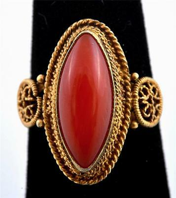 """Chinese Gold Plated Silver Red Coral Ring Marked """"925 S"""""""