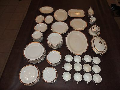 VINTAGE LE ROI FINE CHINA SET WHITE 18kt GOLD TRIM 97 PIECES