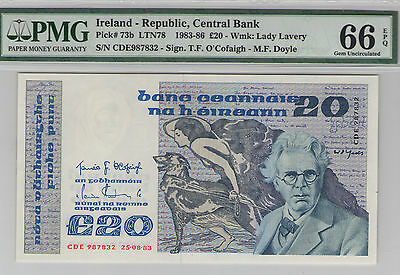 Ireland Republic 20 Pounds (1983-86) #73b MS 66 EPQ PMG Free Shipping!