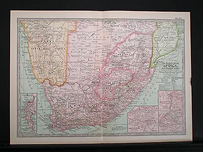 Africa - Southern Part - 1897 Double Page Map - Insets -  Century Atlas