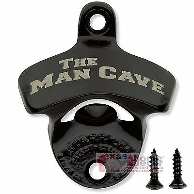 Black THE MAN CAVE Bottle Opener Starr X Cast Iron Beer Wall Mounted w/ SCREWS