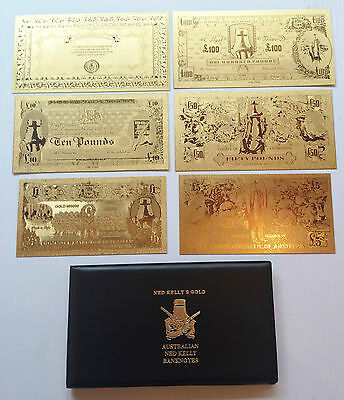 NED KELLY'S GOLD 24K 999.0 GOLD FOIL BANK NOTE SERIES ALBUM LTD C.O.A.1,000 Only