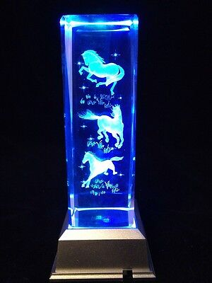 Three Horses In Fields - Large 3D Laser Etched Crystal Block With 4 Lights LED L
