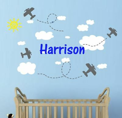 Your Name + Planes Wall Stickers  + 13 Clouds Nursery Baby Boys Areoplanes