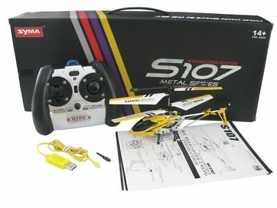 Syma S107G Yellow 3-Channel 3.5CH Mini Remote Control RC Helicopter Gyro Genuine