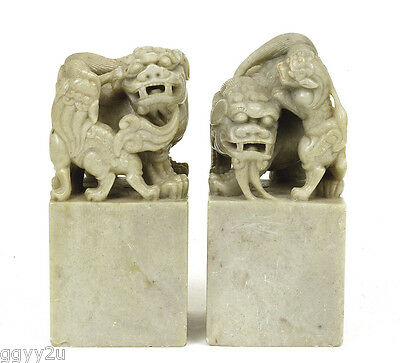 Pair of Chinese Soapstone Carved Carving Fu Foo Lion Dog Seal Chop Figure