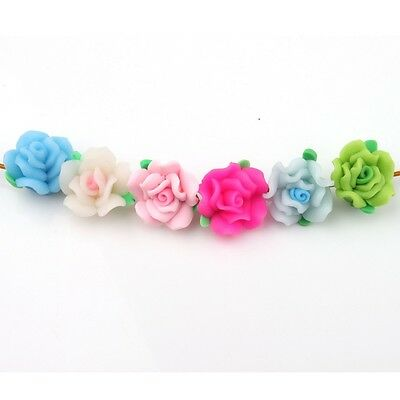 Colorful Beads Hot Sale Flower Fimo Polymer Clay Fashion Nice 15mm