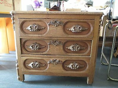 ANTIQUE OAK SHORT DRESSER WITH CARVED HANDLES, TONGUE & GROOVE DRAWERS BEAUTIFUL
