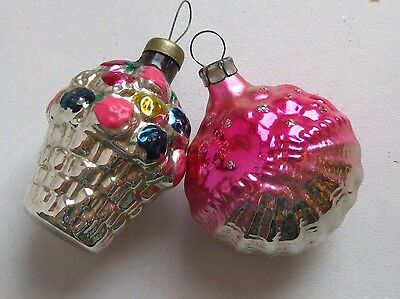 """Antique Russian Christmas Silver Glass Ornaments """"2 Baskets"""""""