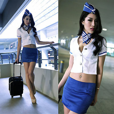 Costume Completino Hostess Aerei Airline Sexy Cosplay Sexy Lingerie Completo