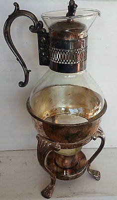 Vintage Silver Plated F.B. Rogers Coffee Carafe with Stand & candle holder