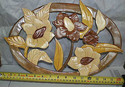 NEW Hand Carved Wood Art Intarsia Three Big Flowers  Wall Plaque Home Decor