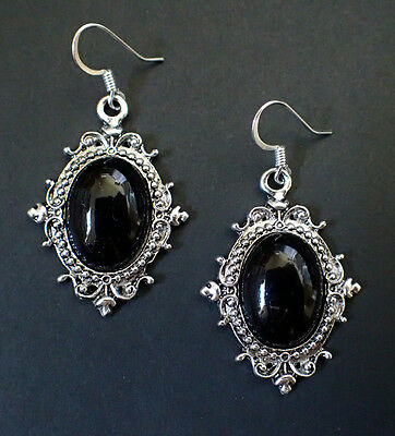 Victorian RENAISSANCE Medieval  FILIGREE Gothic SILVER Earrings (you pick stone)