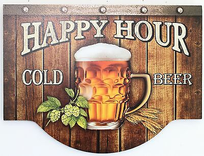 BAR SIGN Happy Hour Cold Beer PLAQUE MDF 40x30 CM LONG GREAT GIFT IDEA NEW