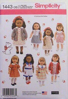 """Simplicity  1443  18"""" Doll Clothes Pattern   Fits American Girl   New For 2014"""