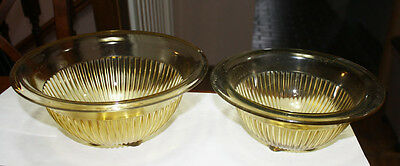 Set of Two Amber Federal Glass Kitchen Depression Glass Bowls