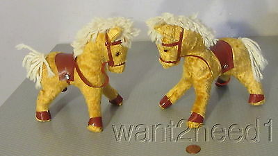 50s vtg made in Poland PAIR STUFFED MOHAIR CIRCUS PONY HORSES 2 GOLD GLASS EYES