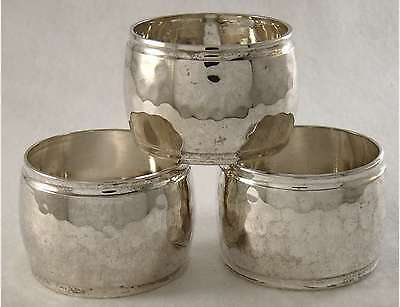 ELEGANT ANTIQUE FRENCH ART DECO SILVER PLATED SET OF 3 NAPKIN RINGS