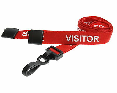 Printed Visitor Lanyard Red Plastic Clip Safety Lanyard Quantity 1-50 FREE P&P