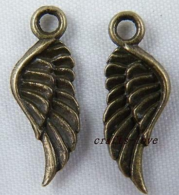 30pcs Bronze Tone Angell Wing Charms Pendants 21x8mm