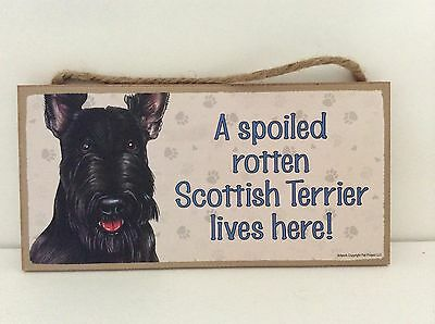 "SCOTTISH TERRIER Wood Sign USA Made 5X10"" Different Breeds by Love & Laughter"