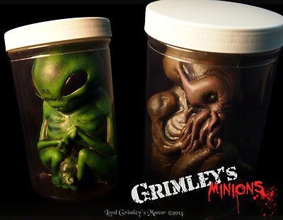 COMBO Cthulhu & Alien Spawn Embryo HP Lovecraft Specimen in a Jar Latex Prop