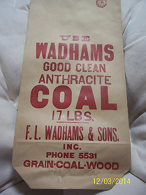 Vintage Unused 17 POUNDS PAPER COAL BAG F.L. WADHAM'S & SONS Great XMAS gag wrap