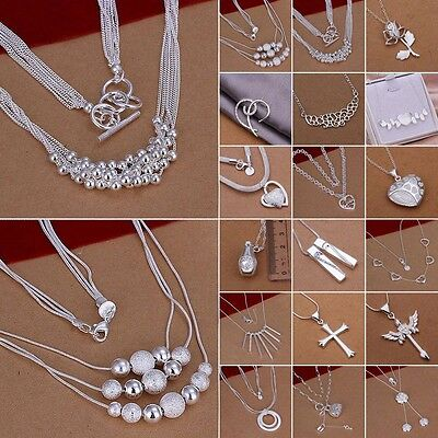 Hot Beads Rose Flower Heart S925 Sterling Silver SP Necklaces Pendants Chain