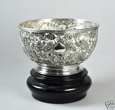 Antique Chinese Export Solid Silver Pierced Dragon Wang Hing Bowl China 1900
