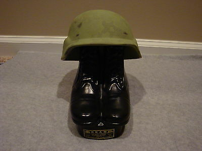 VINTAGE JIM BEAM ARMY HELMET AND BOOTS DECANTER