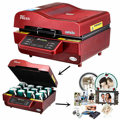 3D Vacuum Sublimation Heat Press Transfer Machine for Mug Phone Case+ Gift Free