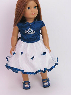 Blue & White Dress Doll Clothes Made for 18 Inch American Girl