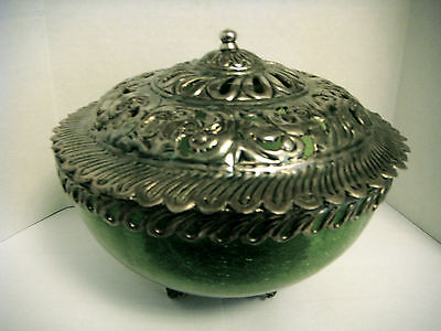 Vintage RARE Green Crackled Glass Bowl with Metal Cover, Rim Trim and Metal Base